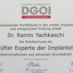Dr.Ramin Yachkaschi Zertifikat